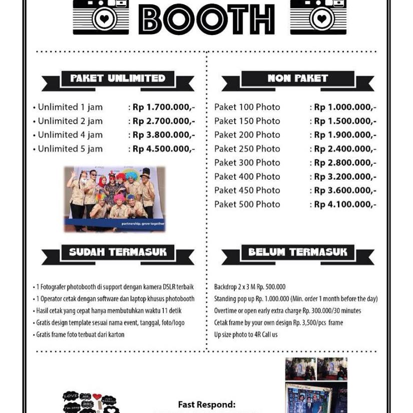 Pricelist Photo Booth